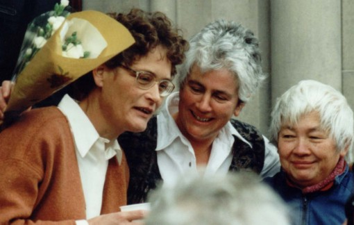 Angie Zelter (center), Ulla Roder (left) and Ellen Moxley celebrate their acquittal outside Greenock Court, Scotland, 1999  [David Mackenzie]