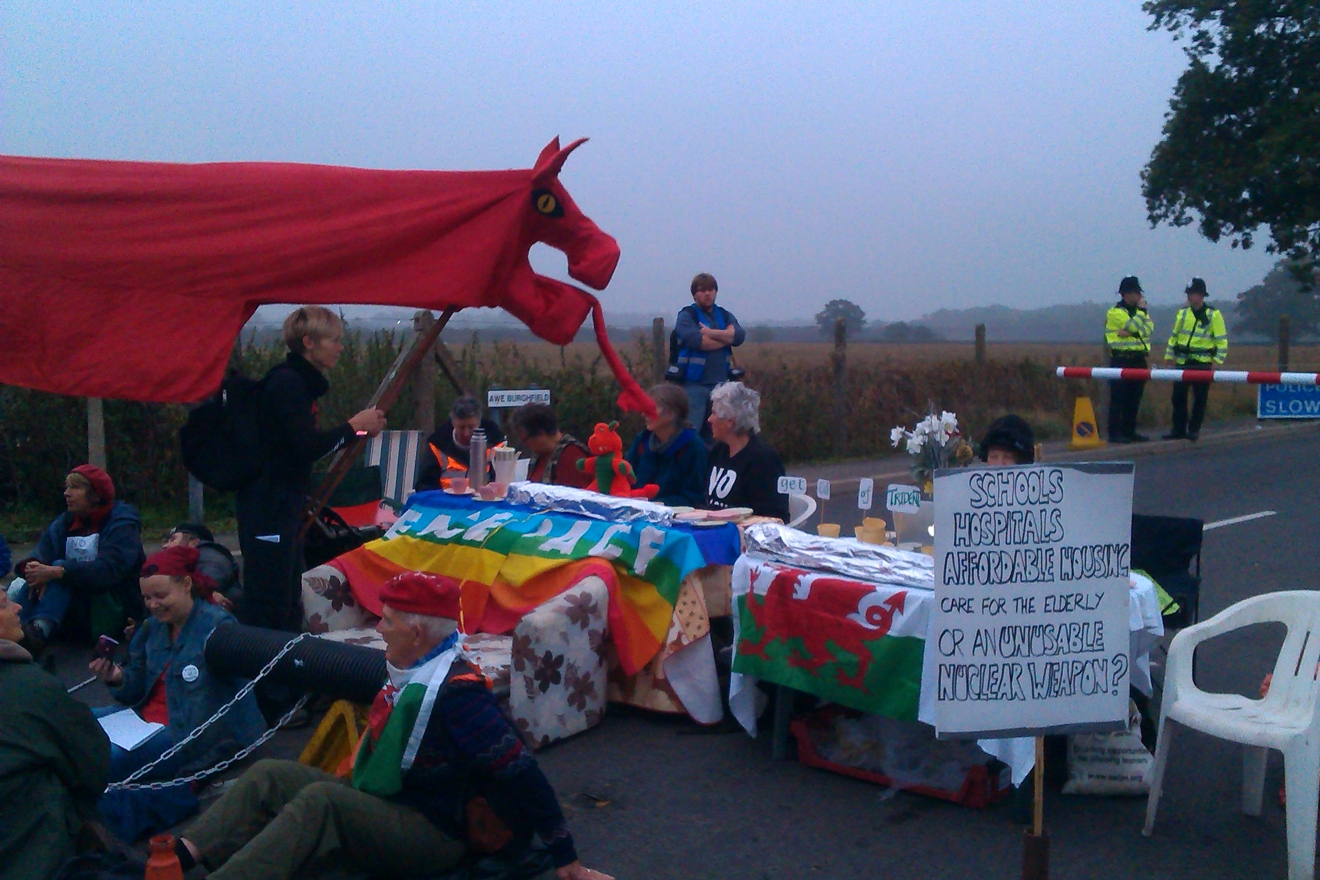 Welsh dragons blockade nuclear weapons factory