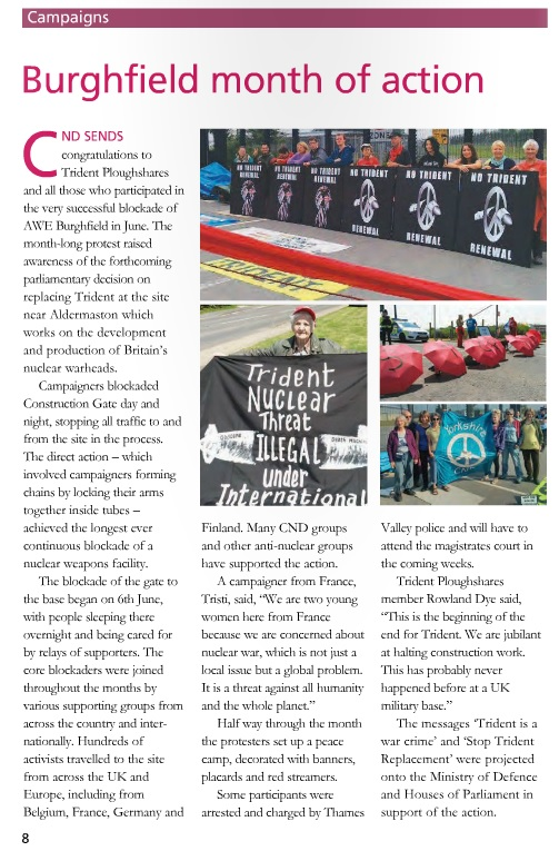 June 2016 month of action reported in CND Campaign magazine